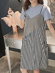 cheap -Women's Basic Sheath / T Shirt Dress - Solid Colored / Striped