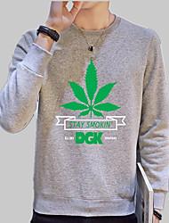 abordables -Homme Sweatshirt - Imprimé, Couleur Pleine / Arbres / Feuilles / Lettre