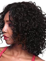 Недорогие -человеческие волосы Remy Полностью ленточные Парик Стрижка боб Стрижка каскад Средняя часть Kardashian стиль Бразильские волосы Loose Curl Парик 130% Плотность волос / Природные волосы