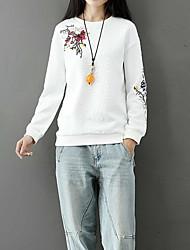 baratos -camisola de mangas compridas para senhora - detalhe floral / cor sólida em volta do pescoço