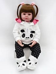 Недорогие -NPKCOLLECTION NPK DOLL Куклы реборн Кукла для девочек Девочки 24 дюймовый Новорожденный Подарок Искусственная имплантация Коричневые глаза Детские Девочки Игрушки Подарок