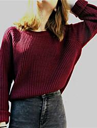 billige -Kvinders langermet bomuldstrøje - solid farvet rund hals