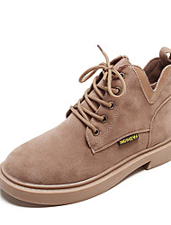 billige -Dame Fashion Boots PU Efterår Afslappet Støvler Lave hæle Rund Tå Ankelstøvler Sort / Beige / Brun