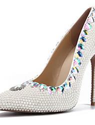 economico -Per donna Scarpe Vernice Primavera estate Decolleté scarpe da sposa A stiletto Appuntite Perle / Brillantini Bianco / Matrimonio