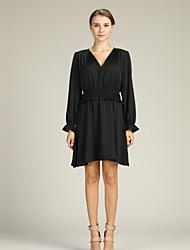 cheap -Women's Going out Lantern Sleeve Slim Sheath / Little Black / Shirt Dress Deep V / Fall / Winter
