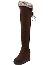 cheap -Women's Shoes Suede Fall & Winter Fashion Boots Boots Creepers Round Toe Over The Knee Boots Black / Brown