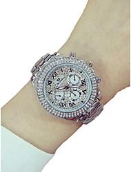 baratos -Mulheres Relógio de Pulso Cronógrafo / Luminoso / imitação de diamante Lega Banda Brilhante / Rígida Prata / Dourada / Ouro Rose