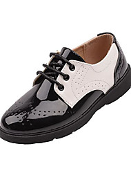 cheap -Boys' Shoes Faux Leather Spring &  Fall Comfort Oxfords Lace-up for Kids / Teenager Black / Black / White