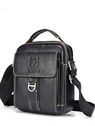 Недорогие -мужские сумки наппа кожаный мешок плеча молния черный / коричневый / кофе