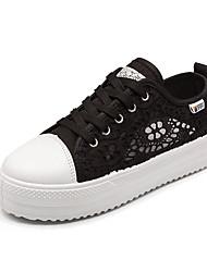Недорогие -Жен. Полотно Осень Удобная обувь Кеды Микропоры Круглый носок Белый / Черный