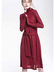 baratos -Mulheres Básico Tricô Vestido Sólido Médio