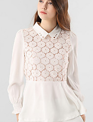 cheap -Women's Basic Blouse - Solid Colored Lace Trims