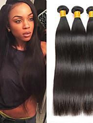 Недорогие -3 Связки Индийские волосы Бирманские волосы Прямой 8A Натуральные волосы Необработанные натуральные волосы Подарки Человека ткет Волосы Сувениры для чаепития 8-28 дюймовый Естественный цвет