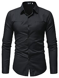 Недорогие -Муж. Рубашка Классический Однотонный