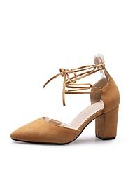 baratos -Mulheres Sapatos Camurça Verão Conforto / Plataforma Básica Saltos Salto Robusto Amarelo / Rosa claro / Amêndoa