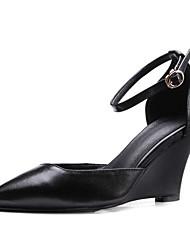 cheap -Women's Nappa Leather Summer Basic Pump Heels Wedge Heel White / Black / Pink