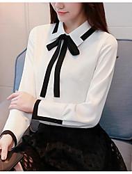 Недорогие -Жен. Бант / Плиссировка / Шнуровка Рубашка Деловые / Уличный стиль Однотонный Черное и белое