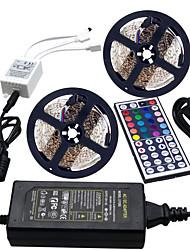 baratos -HKV 2x5 milhões Conjuntos de Luzes / Faixas de Luzes RGB 600 LEDs 3528 SMD 1 controlador remoto de 44 teclas / Adaptador de energia 1 X 5A RGB Cortável / Conetável / Auto-Adesivo 100-240 V