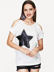 cheap -Women's Cotton T-shirt Print / Summer / Sequin / Cut Out
