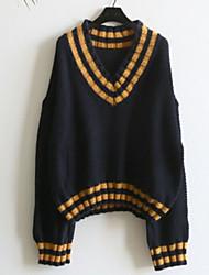 billige -Kvinders langærmet pullover - stribet v-hals