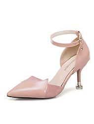 34f51fb9783d Dame Strappy Stacked Heels laklæder Sommer Hæle Stilethæle Spidstå Beige    Brun   Lys pink   Fest   aften   Fest   aften
