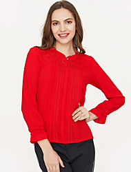 billige -Dame - Ensfarvet Bomuld, Blonder Skjorte / Forår