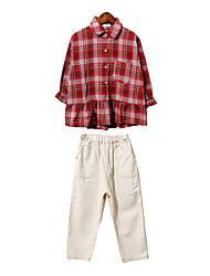 cheap -Kids Girls' Check Long Sleeve Clothing Set