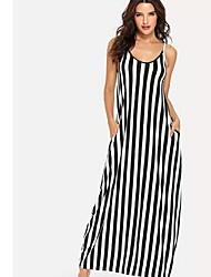 baratos -Mulheres Básico Bainha Vestido Listrado Longo
