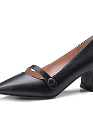 baratos -Mulheres Sapatos Pele Napa Primavera Conforto Rasos Salto Robusto Preto / Roxo / Vermelho