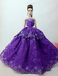 economico -Vestiti Vestito Per Bambola Barbie Lilla Tulle / Pizzo / Misto Seta / Cotone Abito Per Ragazza Bambola giocattolo