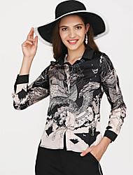 Недорогие -Жен. Праздники / Офис Рубашка V-образный вырез Классический
