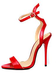 baratos -Mulheres Sapatos Couro Ecológico Verão Plataforma Básica Sandálias Salto Agulha Dedo Aberto Presilha Preto / Vermelho / Festas & Noite