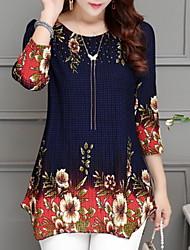 Недорогие -Жен. Блуза Классический Однотонный / Цветочный принт