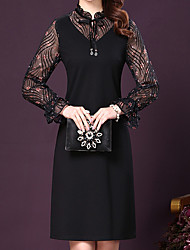 cheap -Women's Elegant Lantern Sleeve Sheath Dress Mesh / Lace up