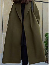cheap -women's long coat - solid colored