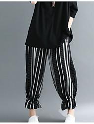 abordables -Mujer Delgado Chinos Pantalones - A Rayas / Bloques