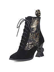 billiga -Dam Fashion Boots Mocka Höst vinter Klassisk Stövlar Heterotypisk häl Rundtå Korta stövlar / ankelstövlar Guld / Svart / Silver / Fest / afton / Färgblock