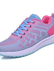 baratos -Mulheres Sapatos Couro Ecológico / Tecido elástico Verão Conforto Tênis Caminhada Sem Salto Ponta Redonda Preto / Azul / Rosa claro