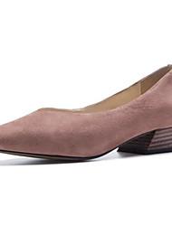 お買い得  -女性用 靴 スエード / シープスキン 春 / 夏 コンフォートシューズ フラット チャンキーヒール クローズトゥ ブラック / ブルー / ピンク