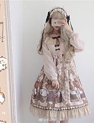 abordables -Doux Doux Princesse Mousseline de soie Femme Robes Cosplay Beige Juliette Manches Longues Midi Déguisement d'Halloween