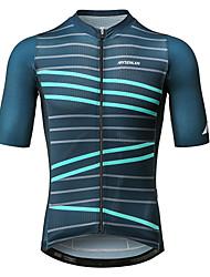 baratos -Mysenlan Homens Manga Curta Camisa para Ciclismo - Verde Escuro Moto Camisa / Roupas Para Esporte Poliéster / Zíper YKK