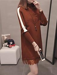 Недорогие -Жен. Длинный рукав Длинный Пуловер - Однотонный Хомут