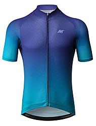 baratos -Mysenlan Homens Manga Curta Camisa para Ciclismo - Azul Moto Camisa / Roupas Para Esporte Poliéster / Zíper YKK