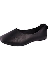 Недорогие -Жен. Комфортная обувь Искусственная кожа Лето Винтаж Мокасины и Свитер На плоской подошве Квадратный носок Черный / Бежевый / Коричневый
