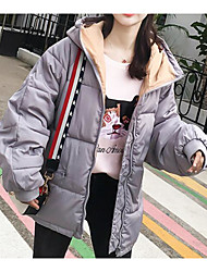 baratos -Mulheres Esportes Moda de Rua Sólido Padrão Acolchoado, Poliéster Manga Longa Inverno Com Capuz Rosa / Cinzento / Verde Tropa S / M / L