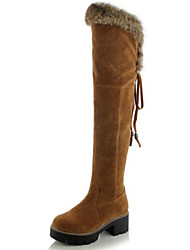 cheap -Women's Shoes Suede Fall & Winter Fashion Boots Boots Chunky Heel Round Toe Over The Knee Boots Black / Yellow