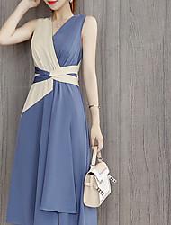 Недорогие -Жен. Хлопок А-силуэт Платье - Контрастных цветов, обернуть До колена / V-образный вырез