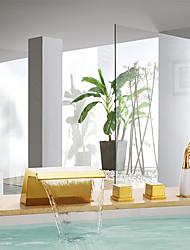 Недорогие -Смеситель для ванны - Фиксированный Ti-PVD Монтаж на стену Керамический клапан Bath Shower Mixer Taps