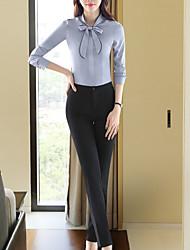 Недорогие -Жен. Бант / Пэчворк Рубашка Однотонный