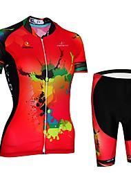 economico -Malciklo Per donna Manica corta Maglia con pantaloncini da ciclismo - Rosso Bicicletta Set di vestiti, Asciugatura rapida, Design anatomico, Traspirante, Strisce riflettenti Licra Dipinto